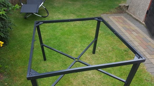 Broken glass patio table
